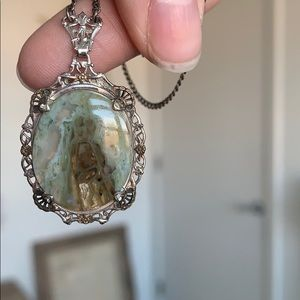 Sterling Silver Agate Necklace